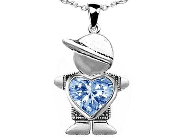 Star K Boy Holding 8mm Mother Heart March Birth Month Pendant Necklace with Simulated Aquamarine in Sterling Silver