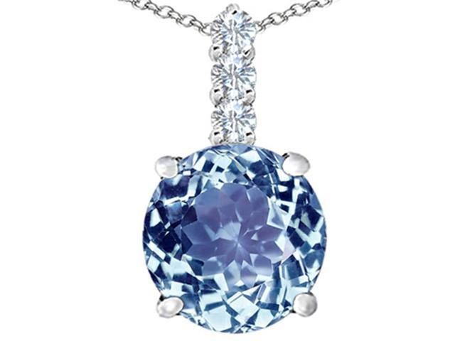 Star K Large 12mm Round Simulated Aquamarine Pendant in Sterling Silver