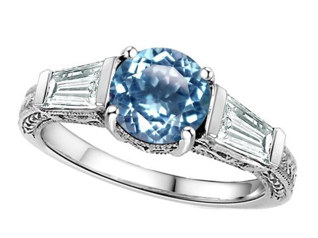 Star K Round 7mm Simulated Aquamarine Ring in Sterling Silver Size 8