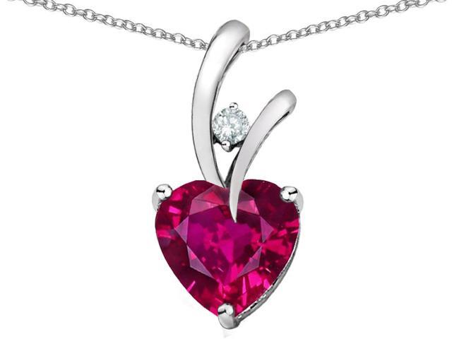 Star K 1.95 CTW Heart Shaped 8mm Created Ruby in Sterling Silver Pendant Necklace 18