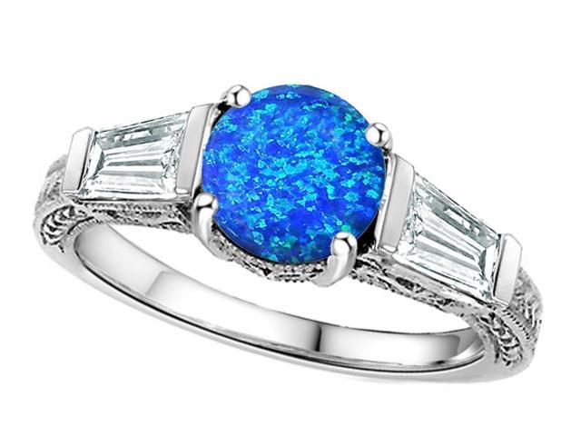 Star K Round 7mm Simulated Blue Opal Ring in Sterling Silver Size 7