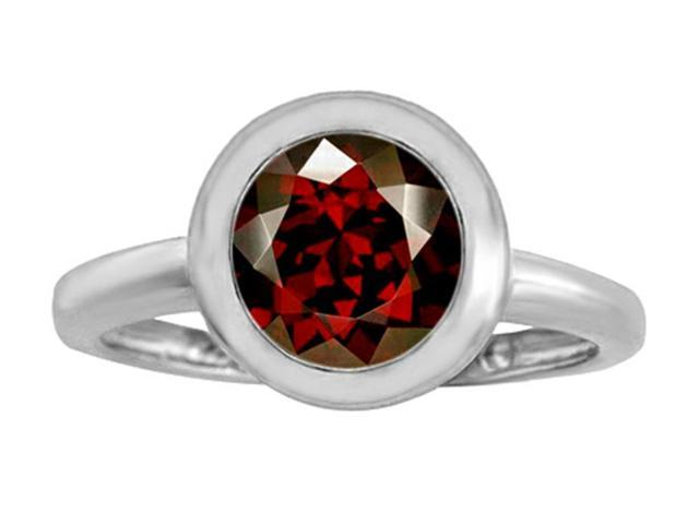 Star K 8mm Round Solitaire Ring with Simulated Garnet in Sterling Silver Size 8