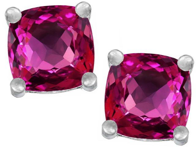 Star K Cushion Cut 7mm Simulated Pink Tourmaline Earrings Studs in Sterling Silver