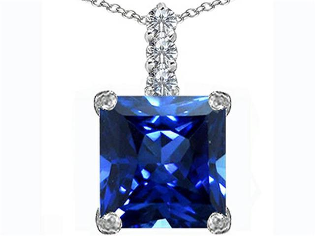 Star K Large 12mm Square Cut Simulated Sapphire Pendant in Sterling Silver