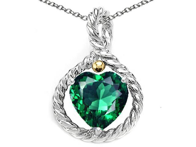 Star K Rope Design 10mm Heart Shape Simulated Emerald Heart Pendant Necklace in Sterling Silver