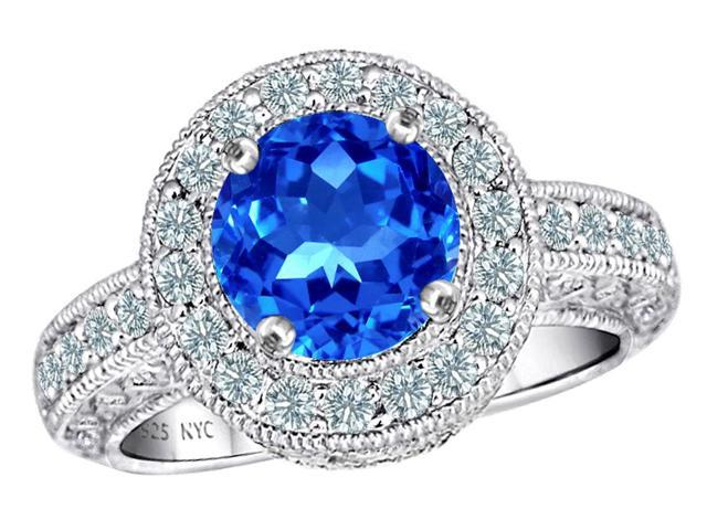 Star K 7mm Round Simulated Blue Topaz Ring in Sterling Silver Size 5