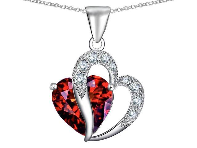 Star K Heart Shape 12mm Simulated Garnet Pendant in Sterling Silver