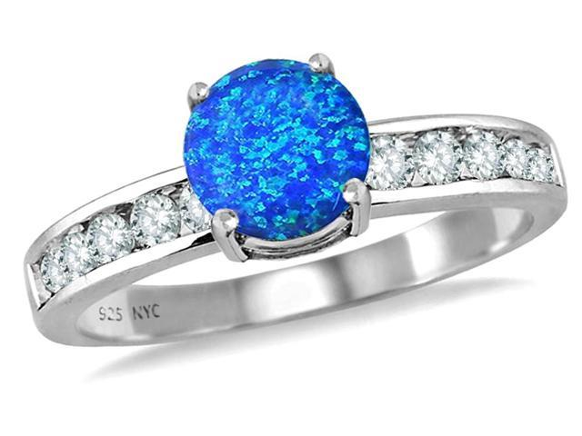 Star K Round 7mm Simulated Blue Opal Ring in Sterling Silver Size 8