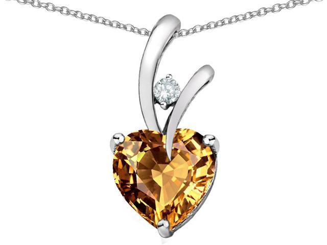 Original Star K Heart Shape 8mm Simulated Imperial Yellow Topaz Pendant
