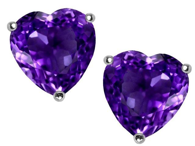 Star K Heart Shape Simulated Amethyst Earrings Studs in Sterling Silver