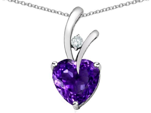 Star K Heart Shape 8mm Simulated Amethyst Pendant in Sterling Silver