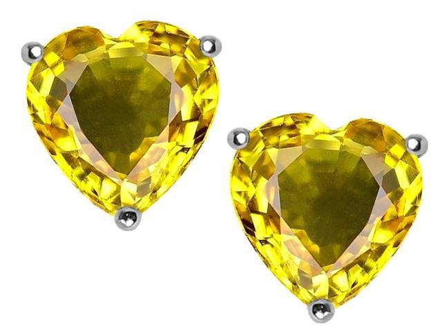 Star K Heart Shape 7mm Simulated Citrine Earrings Studs in Sterling Silver