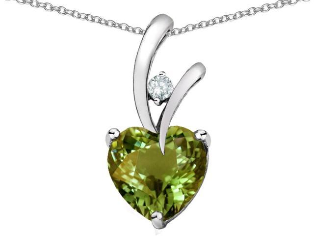 Star K Heart Shape 8mm Simulated Green Tourmaline Pendant Necklace in Sterling Silver