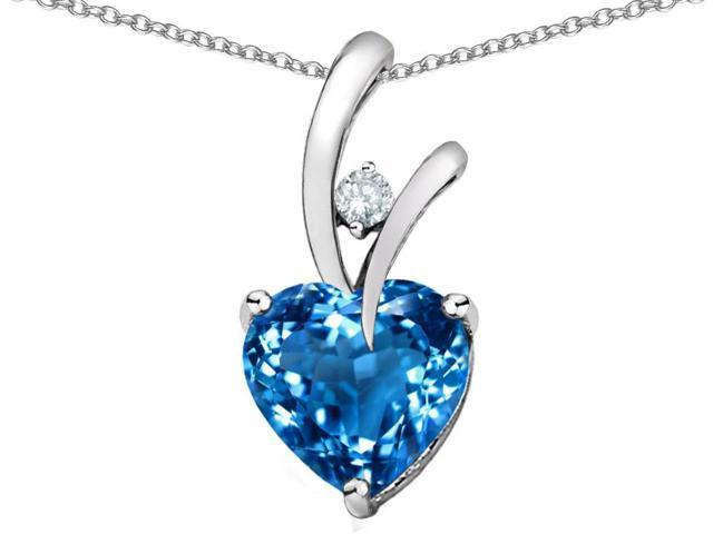 1.95 cttw Original Star K(TM) Genuine Heart Shaped Blue Topaz Pendant