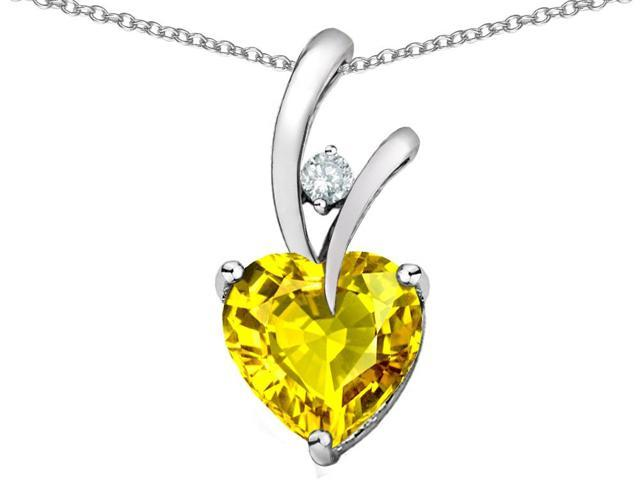Star K Heart Shaped 8mm Simulated Yellow Sapphire Pendant in Sterling Silver