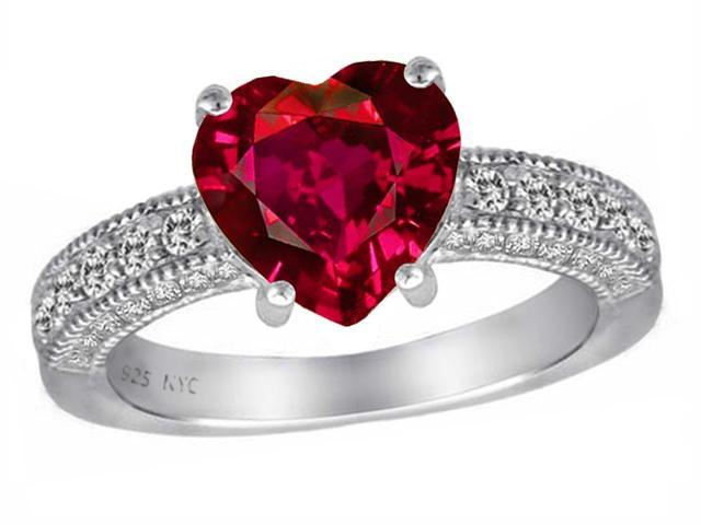 Star K 8mm Heart Shape Created Ruby Ring in Sterling Silver Size 7