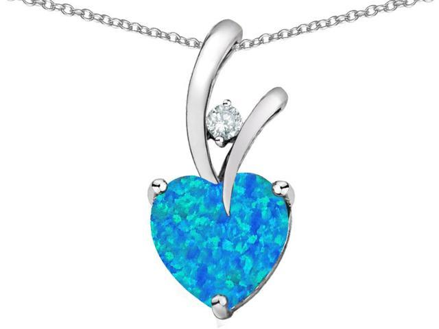 Star K Heart Shape 8mm Blue Created Opal and Cubic Zirconia Pendant Necklace in Sterling Silver