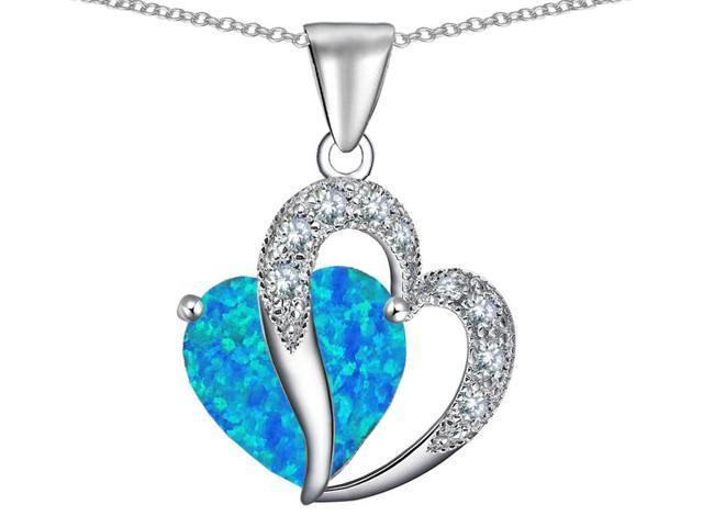 Star K Heart Shape 12mm Blue Simulated Opal Pendant in Sterling Silver