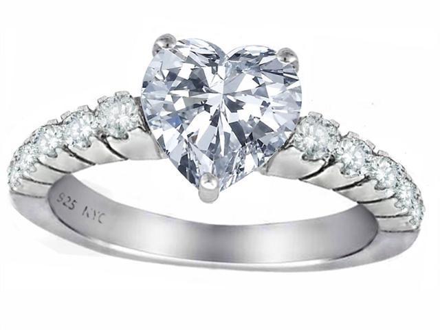 Star K 8mm Heart Shape Genuine White Topaz Ring in Sterling Silver Size 6