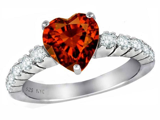 Star K 8mm Heart Shape Simulated Garnet Ring in Sterling Silver Size 6