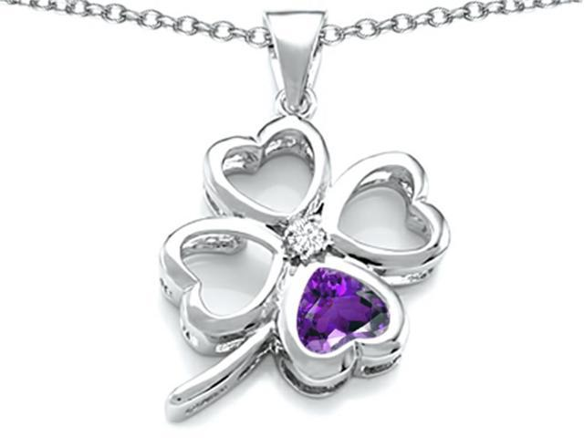 Star K Large 7mm Heart Shape Simulated Amethyst Lucky Clover Heart Pendant Necklace in Sterling Silver