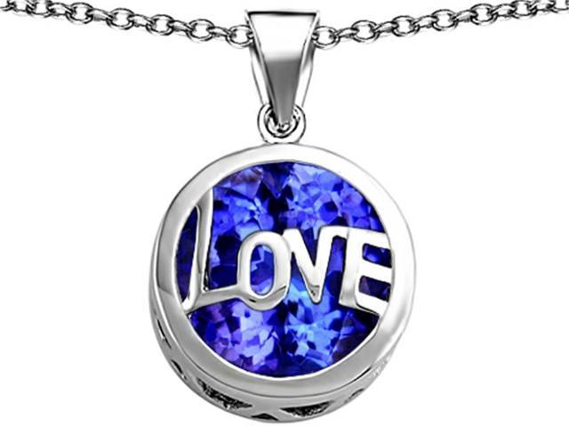 Star K Large Love Round Pendant with 15mm Round Created Sapphire in Sterling Silver