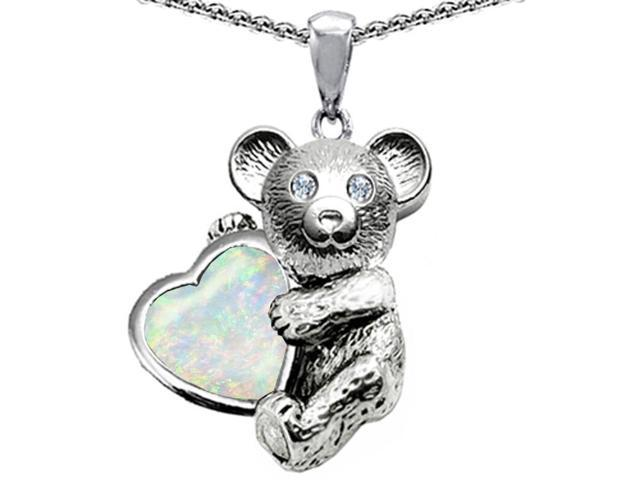 Star K Love Bear Hugging Birth Month of October 8mm Heart Shape Created Opal in Sterling Silver