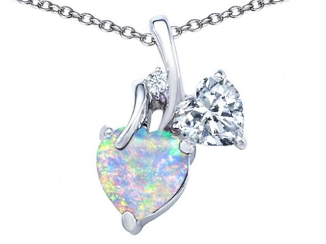 Star K 8mm Heart Shape Simulated Opal Double Hearts Pendant in Sterling Silver
