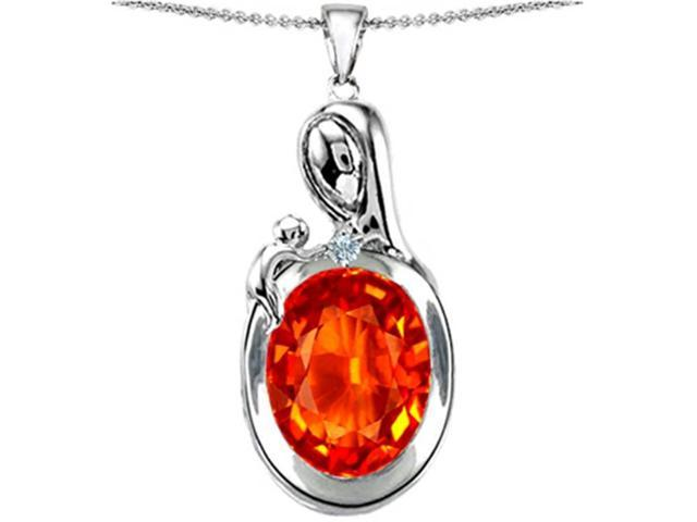 Star K Loving Mother with Child Family Pendant Necklace with Oval 11x9mm Simulated Mexican Fire Opal in Sterling Silver
