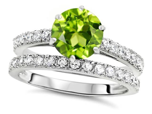 Star K Round 7mm Simulated Peridot and Cubic Zirconia Wedding Ring in Sterling Silver Size 7