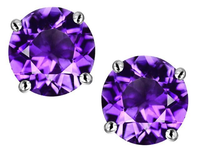 Star K 7mm Round Simulated Amethyst Earrings Studs in Sterling Silver