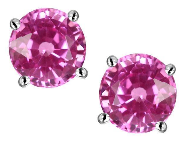 Original Star K 7mm Round Created Pink Sapphire Earring Studs