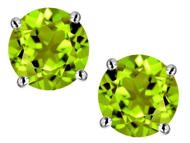 Star K Round 7mm Simulated Peridot Earrings Studs in Sterling Silver