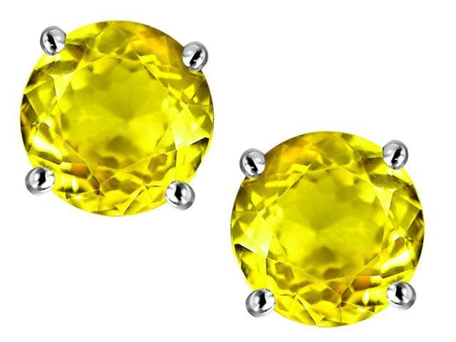 Star K Round 7mm Simulated Yellow Sapphire Earrings Studs in Sterling Silver