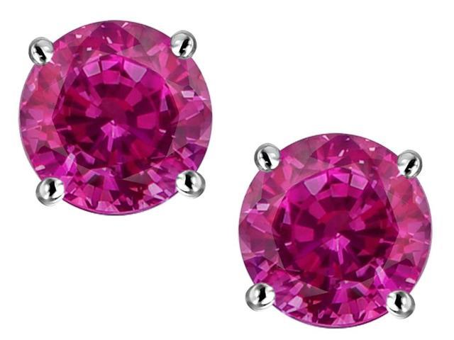 Star K Round 7mm Created Pink Ruby Earrings Studs in Sterling Silver