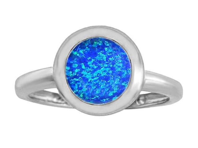 Star K 8mm Round Solitaire Ring with Simulated Blue Opal in Sterling Silver Size 8