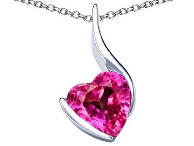 Star K Large 10mm Heart Shape Created Pink Sapphire Heart Pendant in Sterling Silver