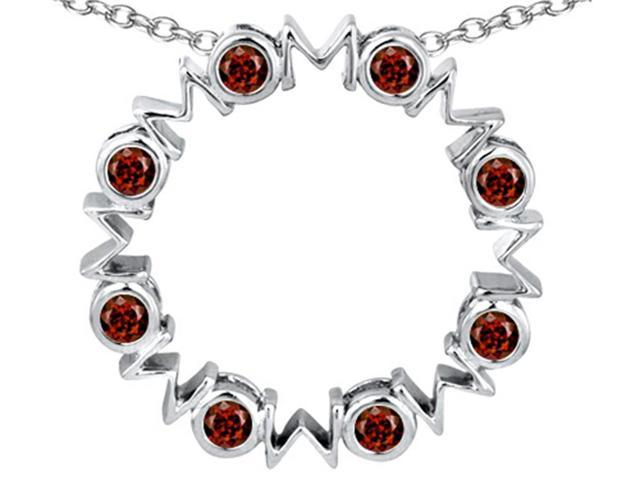 Star K Large MOM Circle Mothers pendant with Round Simulated Garnet in Sterling Silver