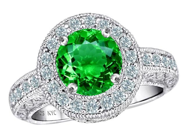 Star K 7mm Round Simulated Emerald Ring in Sterling Silver Size 5