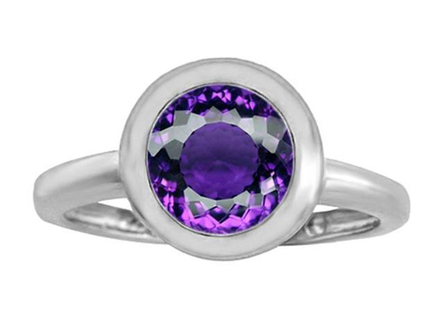 Star K 8mm Round Solitaire Ring with Simulated Amethyst in Sterling Silver Size 8