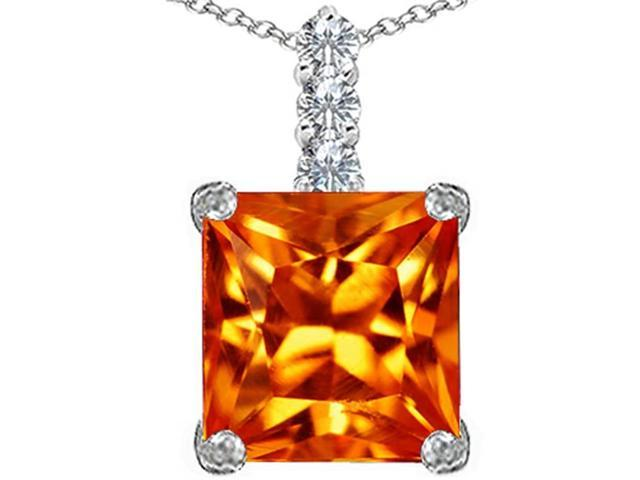 Star K Large 12mm Square Cut Simulated Mexican Orange Fire Opal Pendant Necklace in Sterling Silver