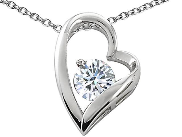 Star K 7mm Round White Topaz Floating Heart Pendant Necklace in Sterling Silver
