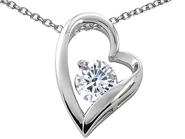 Star K 7mm Round White Topaz Floating Heart Pendant in Sterling Silver