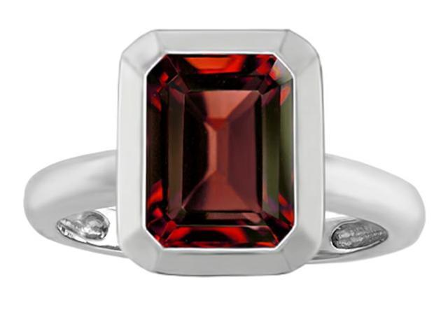 Star K 9x7mm Emerald Cut Octagon Solitaire Ring with Simulated Garnet in Sterling Silver Size 7