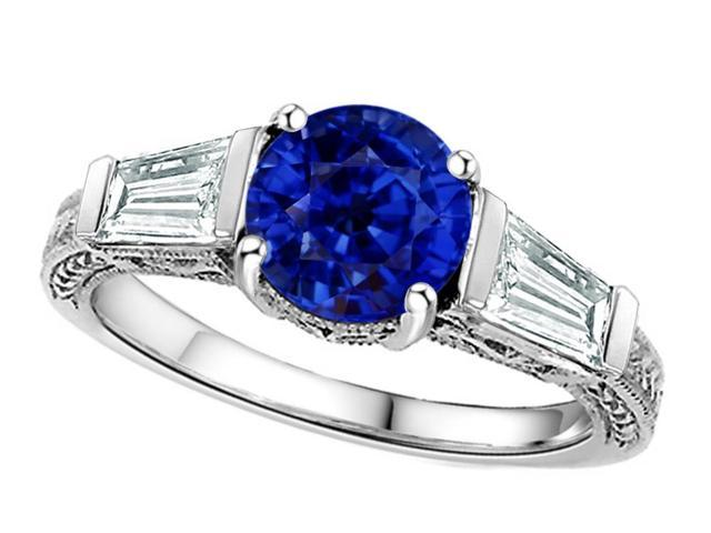 Star K Round 7mm Created Sapphire Ring in Sterling Silver Size 8