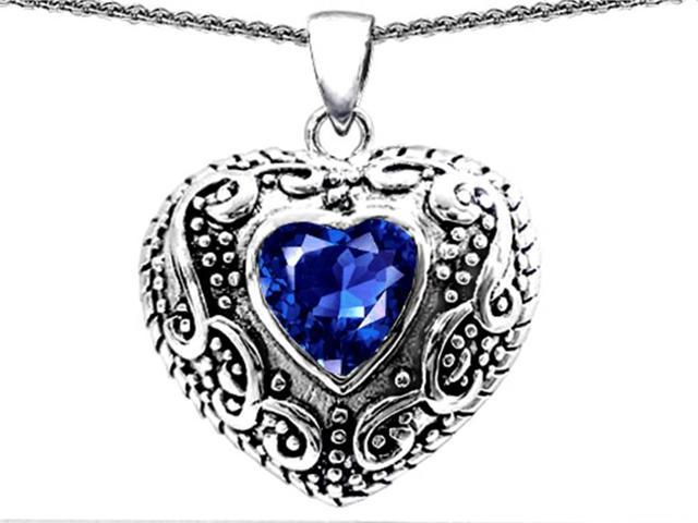 Star K Bali Style Puffed 7mm Heart Created Sapphire Pendant Necklace in Sterling Silver