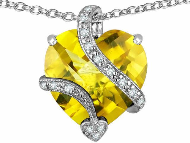 Star K Large 15mm Heart Shape Simulated Citrine Love Pendant Necklace in Sterling Silver