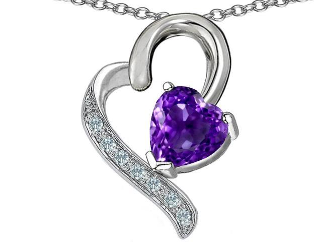 Star K 7mm Heart Shape Simulated Amethyst Pendant in Sterling Silver