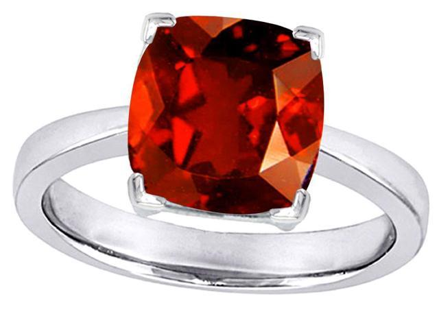 Star K Large 10mm Cushion Cut Solitaire Ring with Simulated Garnet in Sterling Silver Size 8