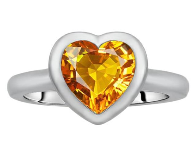 Star K 8mm Heart Shape Solitaire Ring with Simulated Citrine in Sterling Silver Size 6